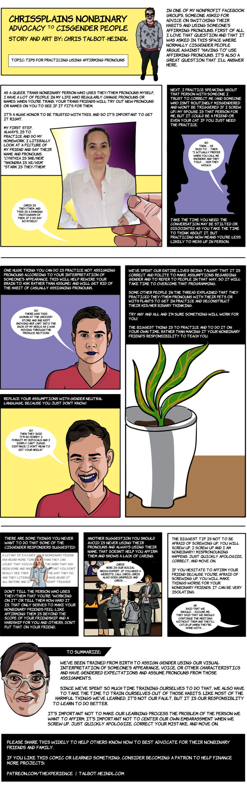 Chrissplains Nonbinary Advocacy to Cisgender People educomic. Topic: Tips for Practicing Using Affirming Pronouns